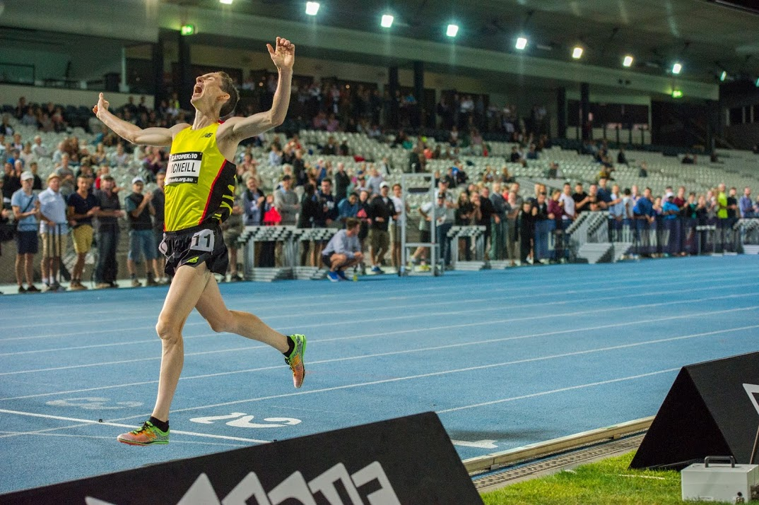 McNeill winning the 2015 Zatopek:10 which is the Australian 10,000m Championship