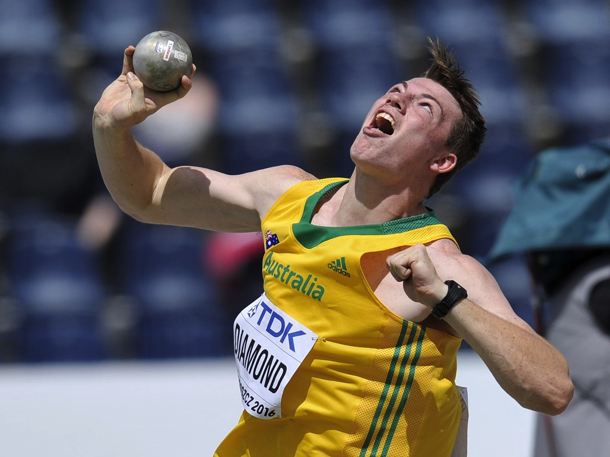 BYDGOSZCZ, POLAND - JULY 19: Alec Diamond from Australia competes in the men's shot put qualification during the IAAF World U20 Championships - Day 1 at Zawisza Stadium on July 19, 2016 in Bydgoszcz, Poland. (Photo by Piotr Hawalej /Getty Images for IAAF) *** BESTPIX ***