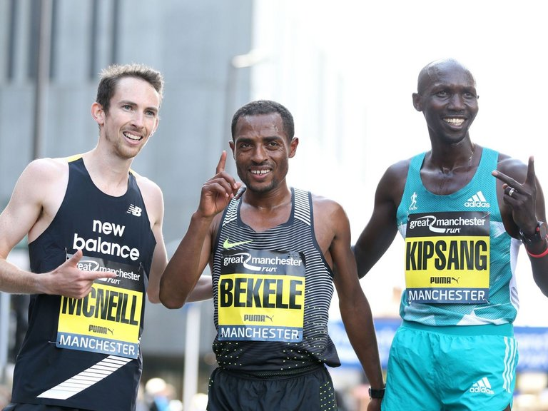 David McNeill, Kenenisa Bekele, and Wilson Kipsang Kiprotich: Great Manchester Run