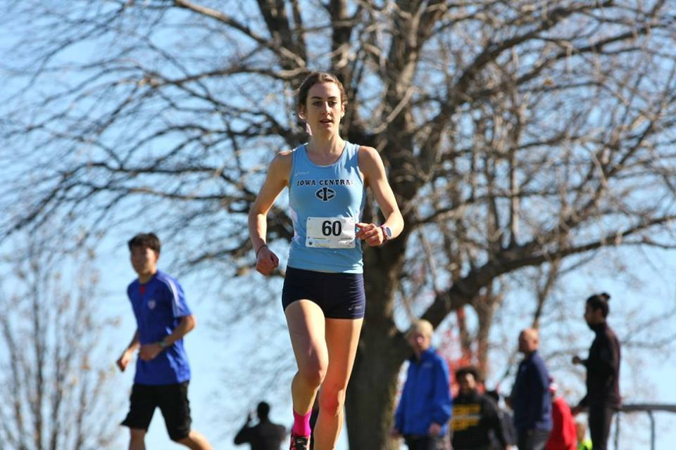 Leanne Pompeanion her way to winning the Womens National Junior College Cross Country Championships 2015