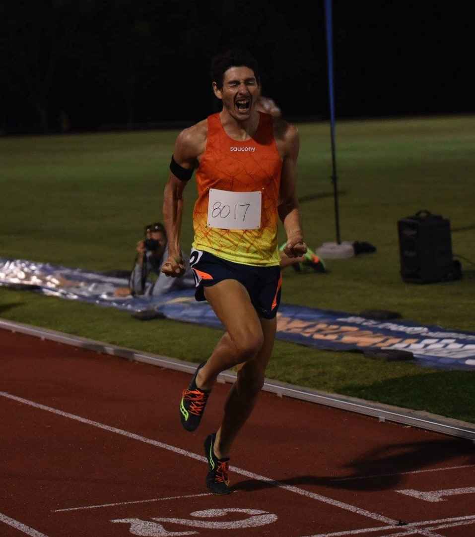 Gusman winning last years Albie Thomas mile: Photo by: Bankstown Sports Athletics Club