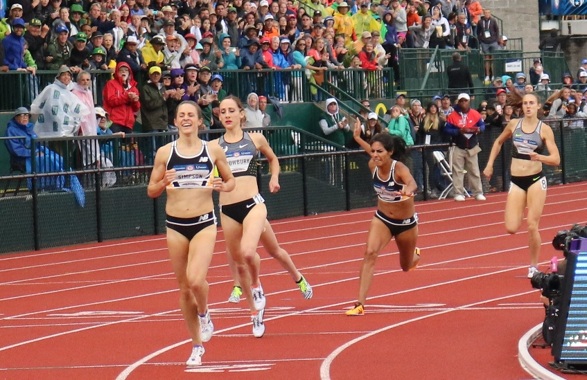 PHOTO: Jenny Simpson, Shannon Rowbury and Brenda Martinez finish 1-2-3 in the 1500m at the 2016 USA Olympic Trials in Eugene, Ore.; Amanda Eccleston (obscured behind Rowbury) finished fourth (photo by Chris Lotsbom for Race Results Weekly)