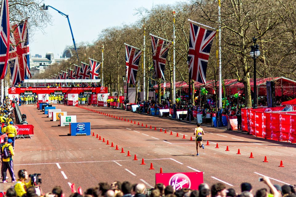 SOS athlete Patrick Rizzo finishing the London Marathon in 12th place. April, 2013. Rizzo has found that without effective fuelling he is unable to get the most out of his fitness and regularly practices taking on fluids in training.