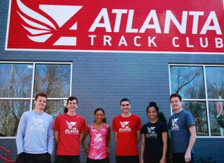 New Atlanta Track Club Elite Olympic Development Team members (from left to right): Jim Rosa, Patrick Peterson, Carmen Graves, Rob Mullet, Megan Malasarte and Joe Rosa (photo courtesy of the Atlanta Track Club)