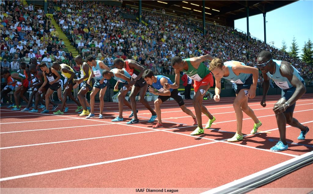 Start of the legendary Bowerman Mile at the 2013 Prefontaine Classic in Eugene - won by Silas Kiplagat (KEN)