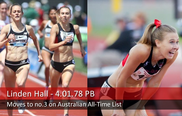 Linden Hall, 5th at the Prefontaine Classic in Eugene and winning in Stanford.