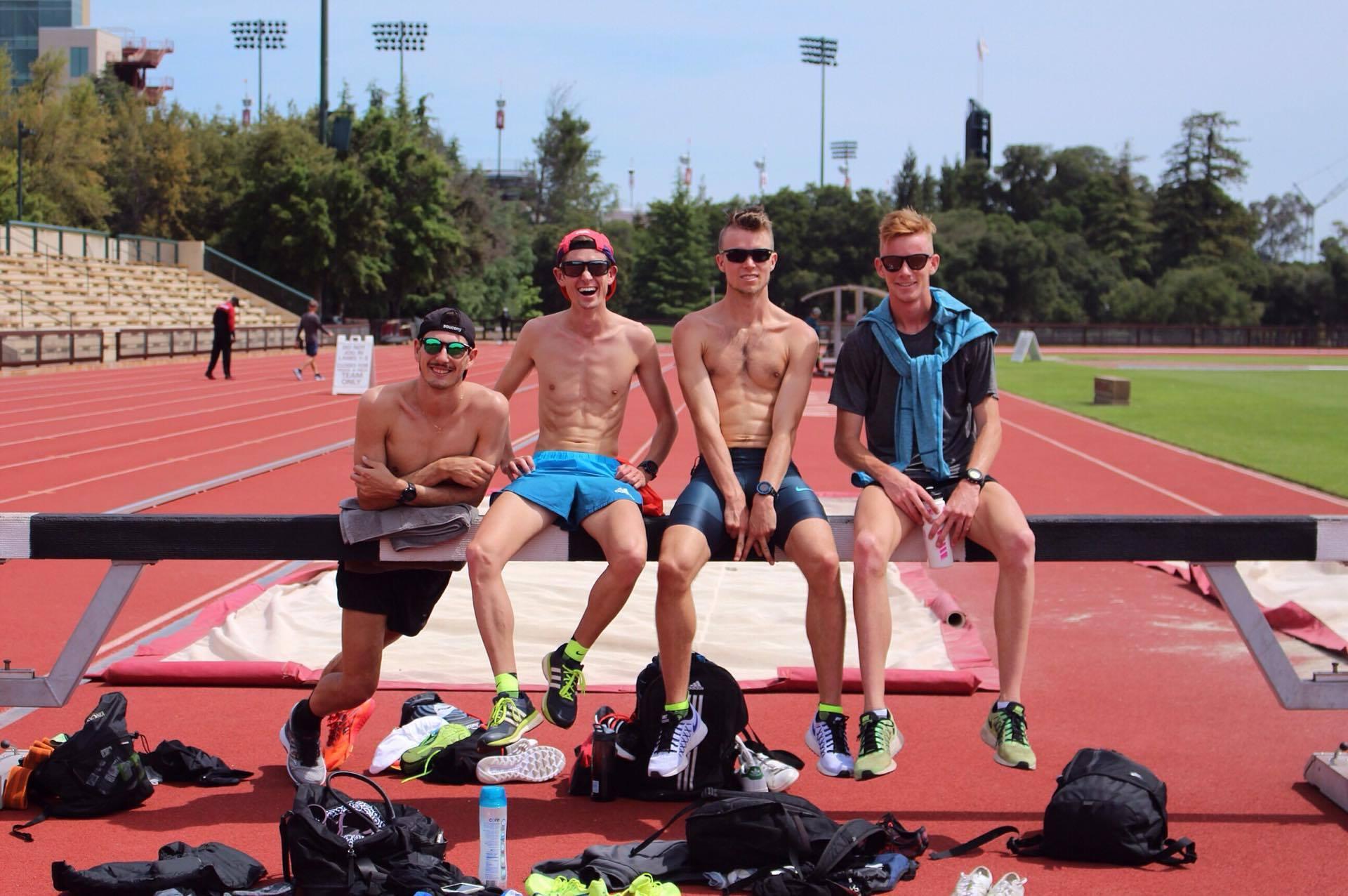 Jordan Gusman, Joshua F. Johnson and Matt Dempsey at Stanford Cobb Track and Angell Field.