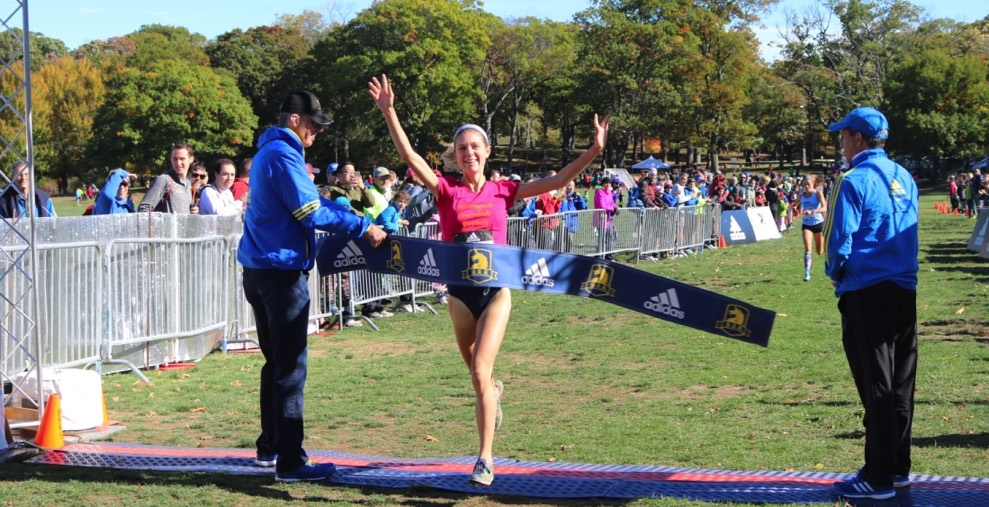 PHOTO: Liv Westphal wins the 2016 Mayor's Cup Cross Country in Boston's Franklin Park (photo by Chris Lotsbom for Race Results Weekly)